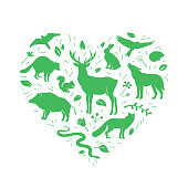 Vector heart shape with animals silhouettes and herbs on white. Flat wild animals silhouettes in green color. Design for t-shirt print, cover, poster, banner, card