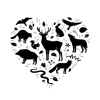 Vector heart shape with animals silhouettes and herbs on white. Flat wild animals silhouettes in green color
