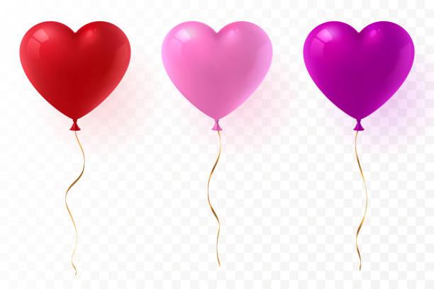 vektor herzförmige luftballons satz isoliert auf transparentem hintergrund. rot, rosa und lila glänzende ballon mit goldband. festliche dekorationelement für den valentinstag oder hochzeit. eps-10. - ballon stock-grafiken, -clipart, -cartoons und -symbole