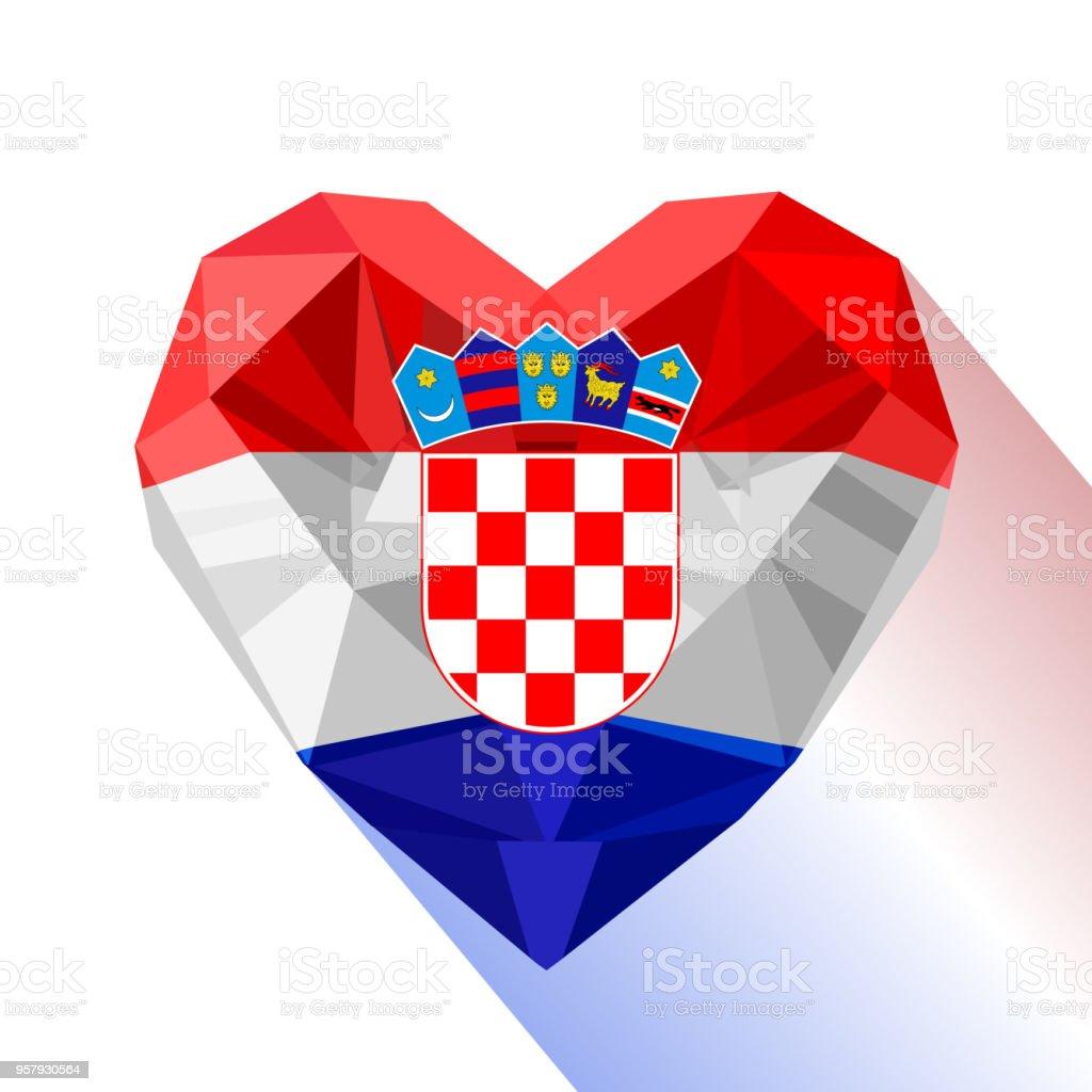 Vector del corazón la bandera de la República de Croacia. - ilustración de arte vectorial