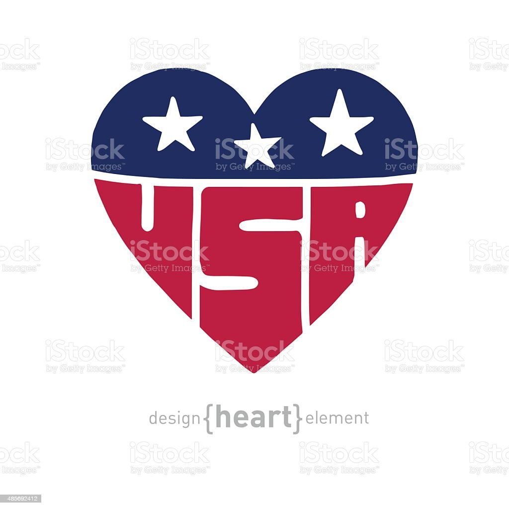 vector heart with american flag colors, symbols and inscription vector art illustration