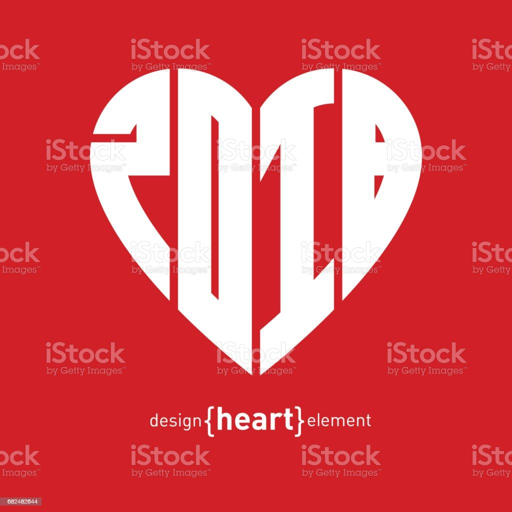 Vector Heart With New Year Date Happy Nw Year 2018 Original Design