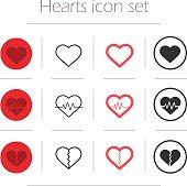 Vector hearts icon set