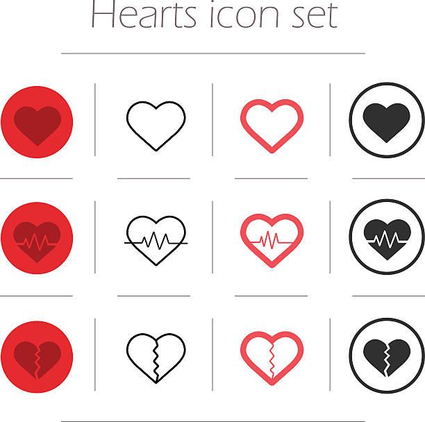 stockillustraties, clipart, cartoons en iconen met vector hearts icon set - liefdesverdriet