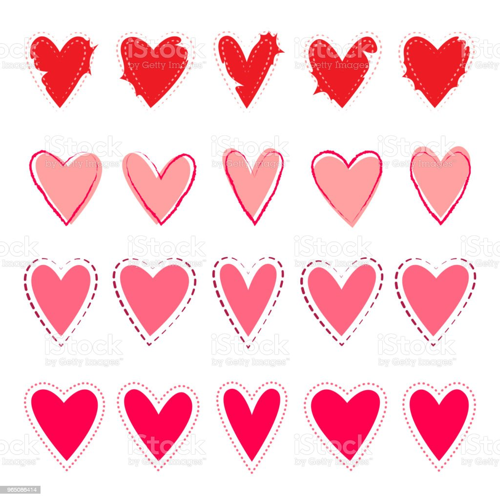 Vector hearts set in hand drawn style royalty-free vector hearts set in hand drawn style stock illustration - download image now