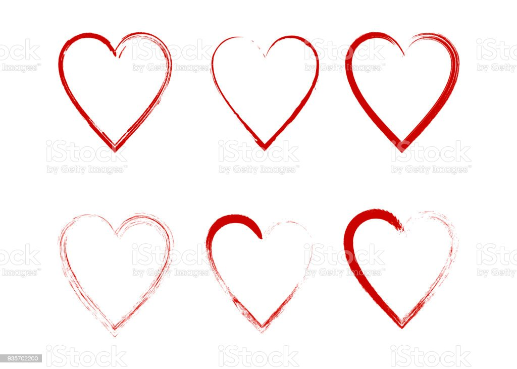 Vector Hearts Silhouettes Heart Shape Design For Love Symbols Stock