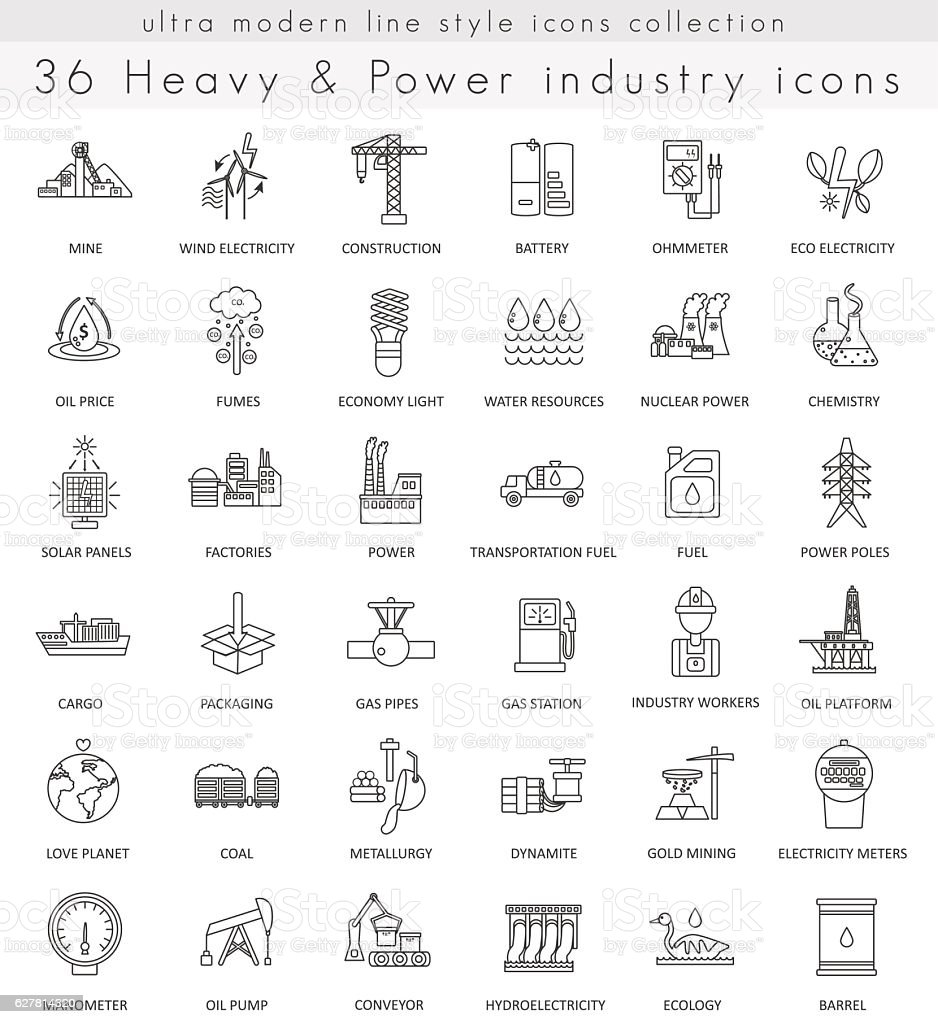 Vector heavy and power industry ultra modern outline line icons vector art illustration