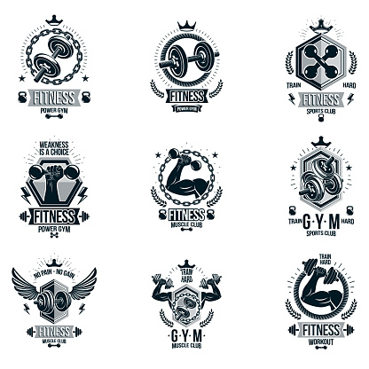 Vector heavy load power lifting theme logotypes and advertising flyers collection created with dumbbells, disc weights sport equipment and strong man body shapes.
