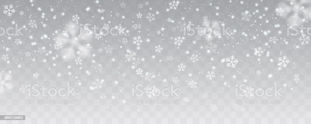 Vector heavy snowfall, snowflakes in different shapes and forms. Many white cold flake elements on transparent background. White snowflakes flying in the air. Snow flakes, snow background. vector art illustration