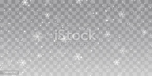 istock Vector heavy snowfall, snowflakes in different shapes and forms. Snow flakes, snow background. Falling Christmas 1266492931
