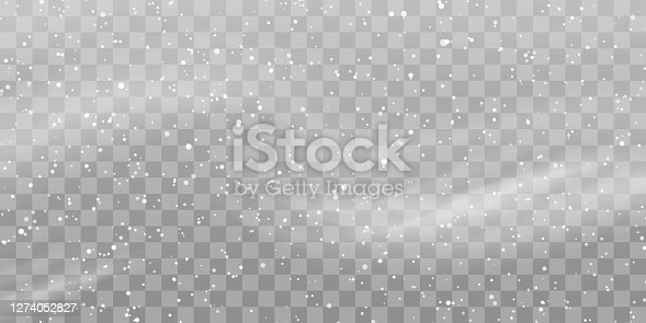 istock Vector heavy snowfall, snowflakes in different shapes and forms. Snow flakes, snow background. Falling Christmas 1274052827