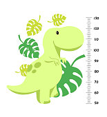 Vector height wall chart decorated with cartoon dinosaurs - brontosaurus, triceratops, tyrannosaurus, pterodactylus, stegosaurus - and numbers. Illustration in flat style for children growth measure