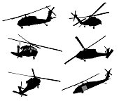 Helicopter detailed silhouettes collection. Vector EPS 10