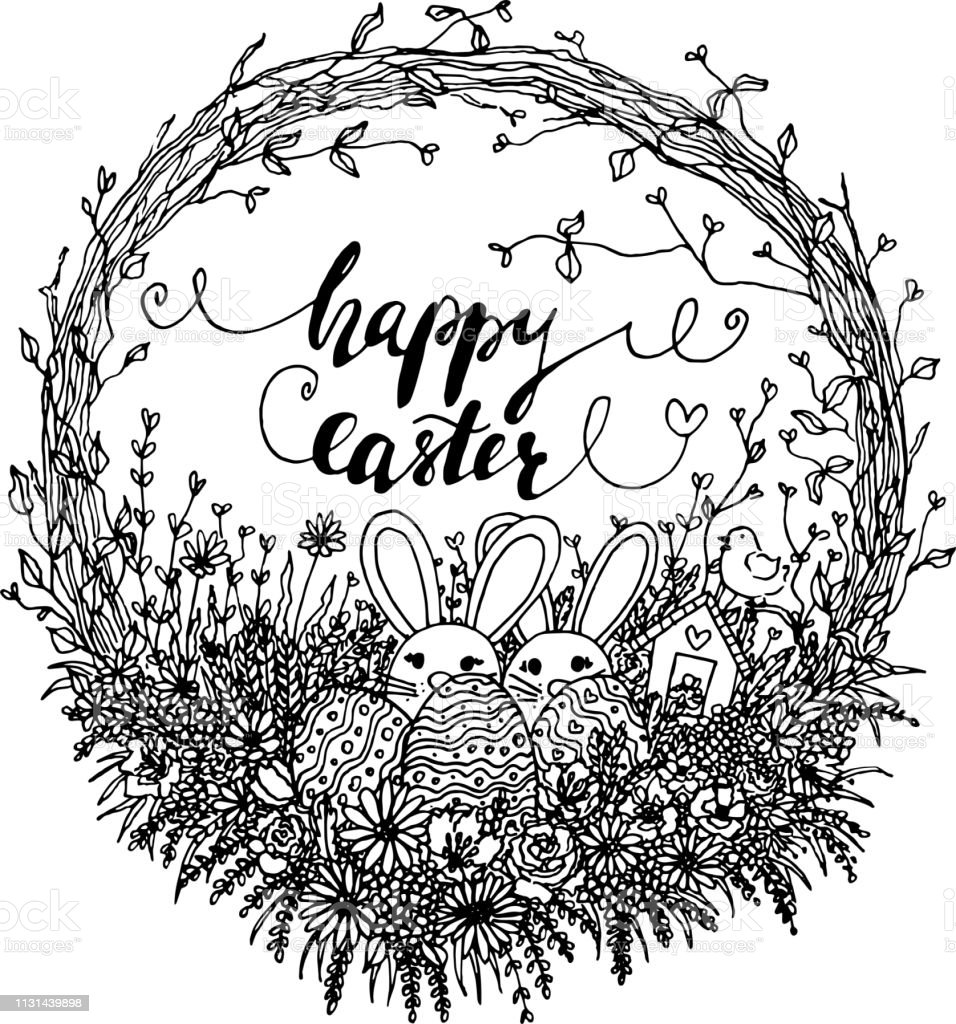 Vector Hello Easter Wreath Illustration Black And White ...