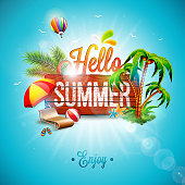 Vector Hello Summer Holiday typographic illustration on vintage wood background. Tropical plants, flower, beach ball, air balloon and sunshade with blue sky. Design template for banner, flyer, invitation, brochure, poster or greeting card.