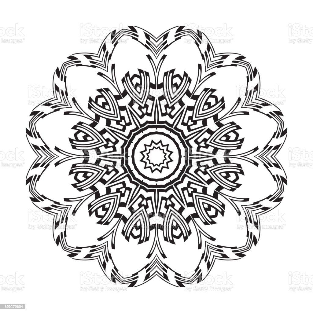 Vektor Henna Tatoo Mandala Geometrischen Stil Für Die Grußkarte ...