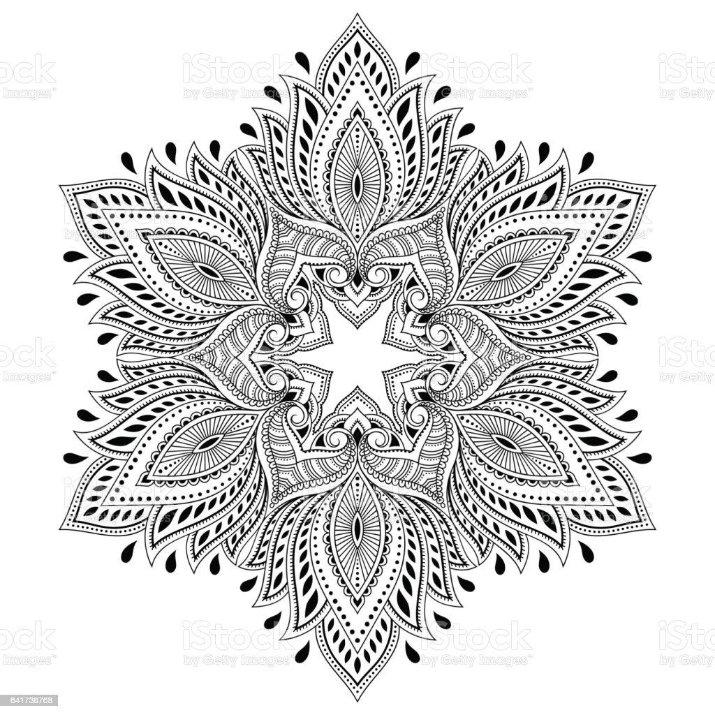 Ilustración de Mandala Del Tatuaje De Vector Henna Estilo De Mehndi Página  De Libro Para Colorear y más Vectores Libres de Derechos de Abstracto -  iStock