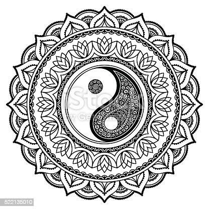 Istock Vintage Yin And Yang In Mandala 576554748 Istock Vintage