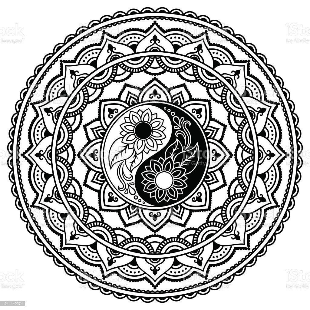 Istock Mandala Del Tatuaje De Vector Alheña Símbolo Yin Y El Yang