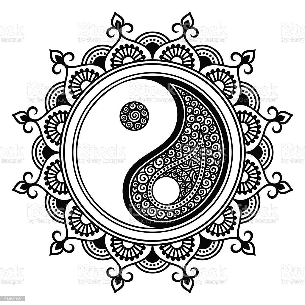 Mehndi Henna Symbols : Vector henna tatoo mandala yinyang decorative symbol