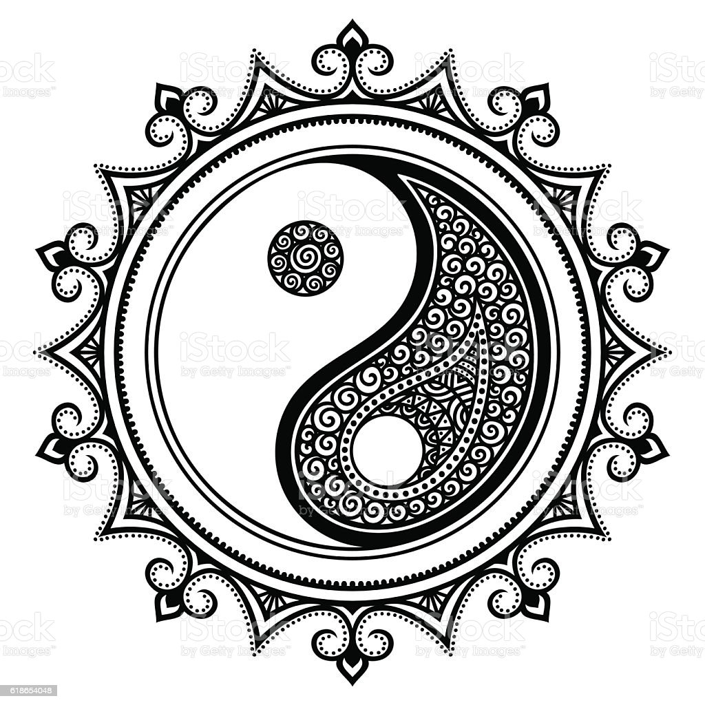 vector henna tatoo mandala yinyang decorative symbol mehndi style rh istockphoto com henné vectoriel henna vector art