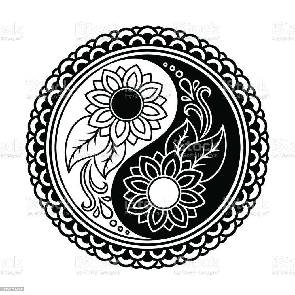Vector Henna Tatoo Mandala Yinyang Decorative Symbol Mehndi Style