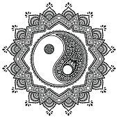 Vector henna tatoo mandala. Yin-yang decorative symbol. Mehndi style. Decorative pattern in oriental style. Coloring book page.