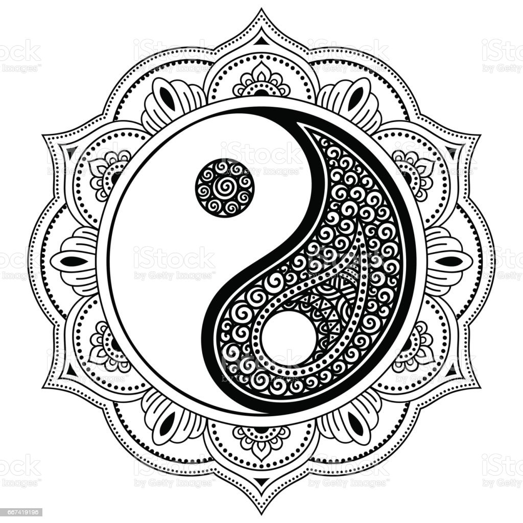 Vector henna tatoo mandala yinyang decorative symbol mehndi style yin yang decorative symbol mehndi style decorative pattern biocorpaavc Image collections