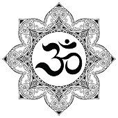 Vector henna tatoo mandala.OM decorative symbol. Mehndi style