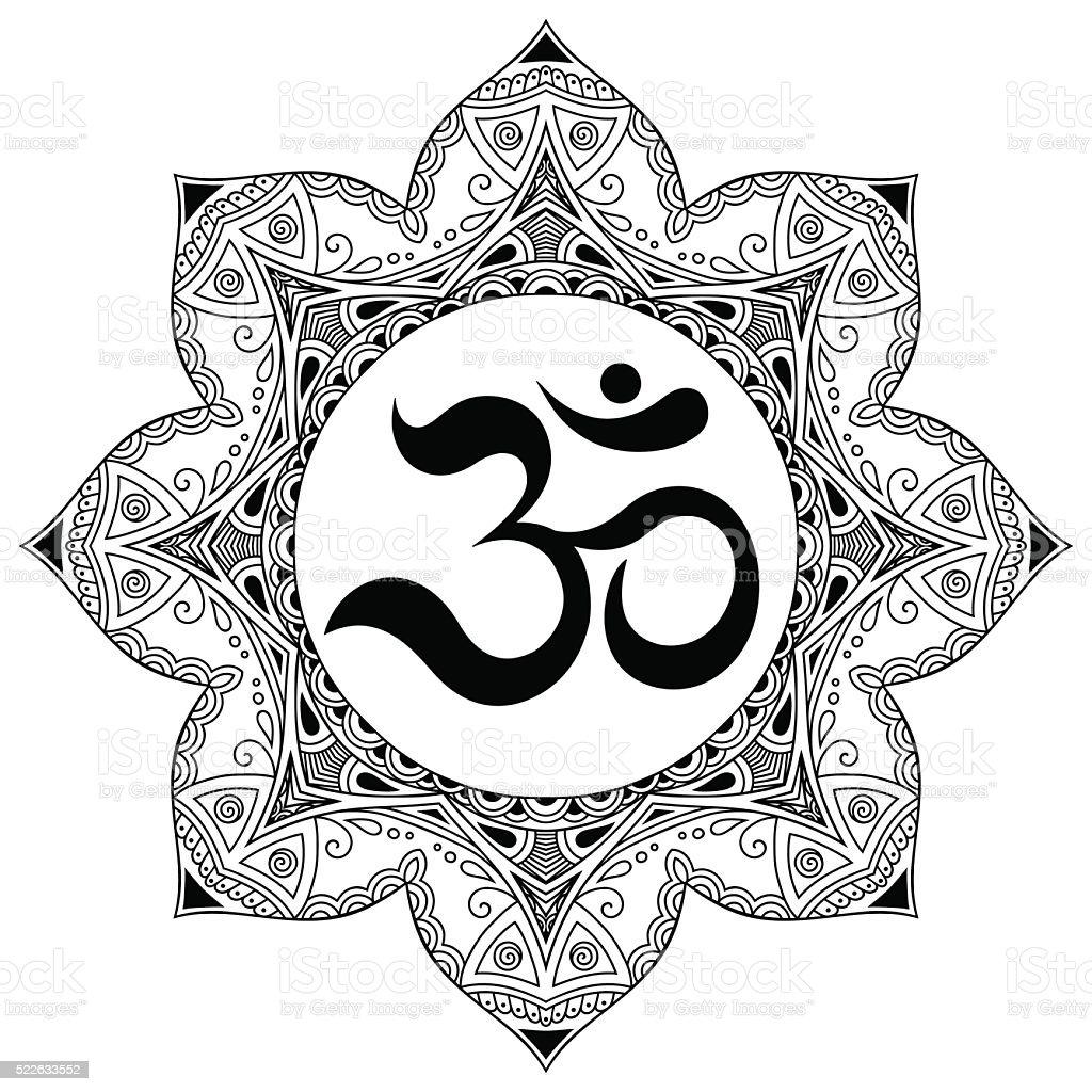 Vector henna tatoo mandala.OM decorative symbol. Mehndi style vector art illustration