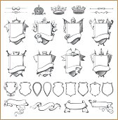 Vector heraldic element collection and Coat of arms template