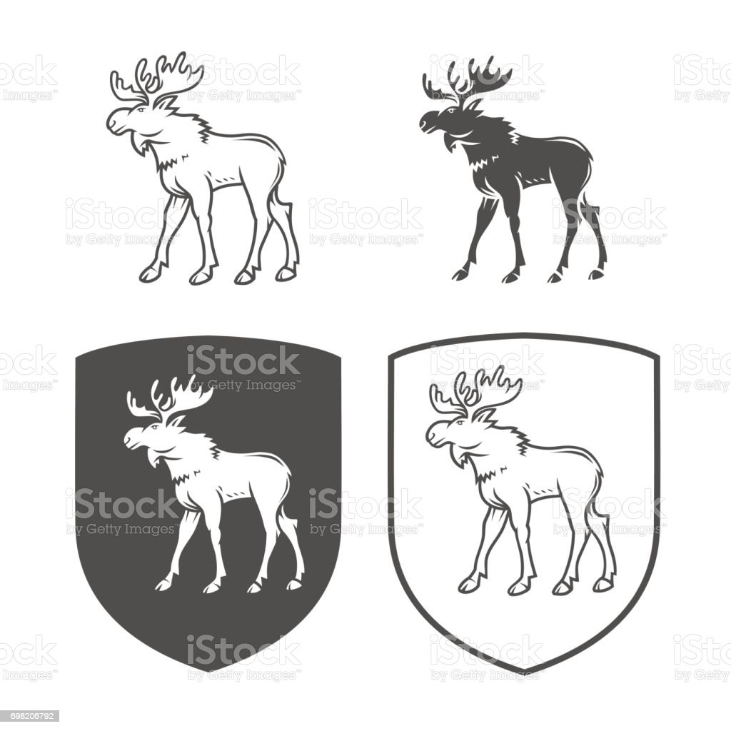 Vector heraldic shields with elk on a white background. Coat of arms, heraldry, emblem, symbol design elements.