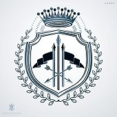 Vector heraldic sign made with decorative elements, vintage majestic emblem.