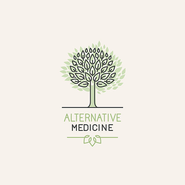 Vector herbal and alternative medicine logo design vector art illustration