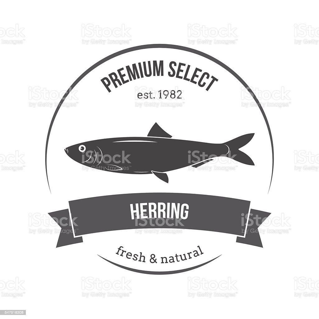 Vector herring emblem, label. Template for stores, markets, food - ilustración de arte vectorial