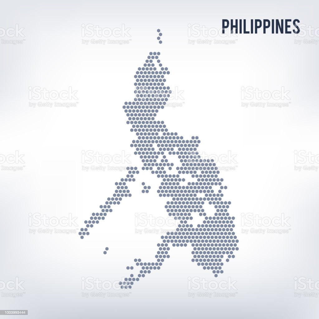 Vector Hexagon Map Of Philippines On A Gray Background Stock Illustration -  Download Image Now