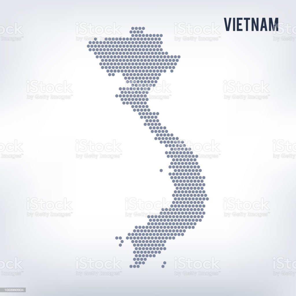 Vector Hexagon Map Of Vietnam On A Gray Background Stock