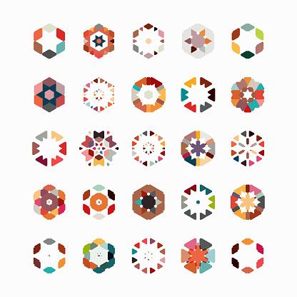 Vector hexagon pattern symbol collection