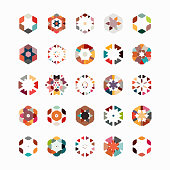 Vector hexagon pattern symbol collection