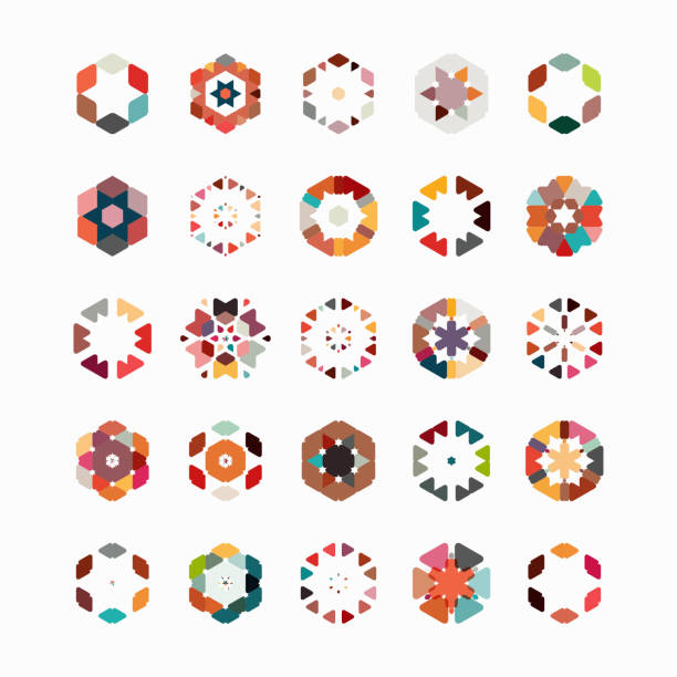 vector hexagon pattern symbol collection - backgrounds symbols stock illustrations