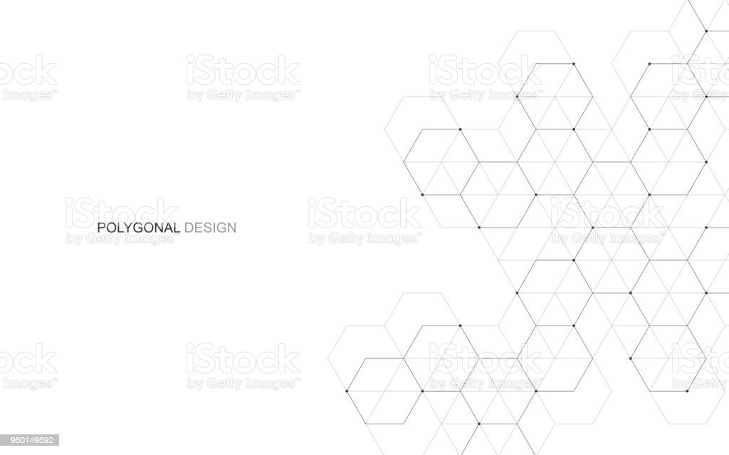 Vector hexagonal background. Digital geometric abstraction with lines and dots. Geometric abstract design. vector art illustration
