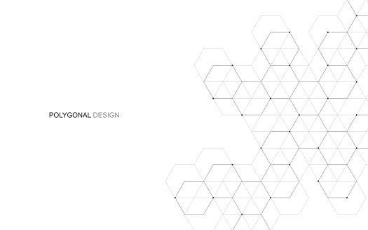 Vector Hexagonal Background Digital Geometric Abstraction With Lines And Dots Geometric Abstract Design — стоковая векторная графика и другие изображения на тему Connect the Dots - английское выражение