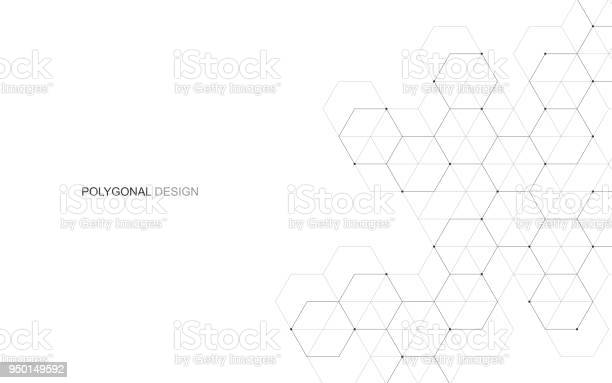 Vector Hexagonal Background Digital Geometric Abstraction With Lines And Dots Geometric Abstract Design - Arte vetorial de stock e mais imagens de Abstrato