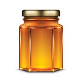 Vector hexagonal glass jar with honey and metal screw cap lid. Realistic template illustration isolated over white background.