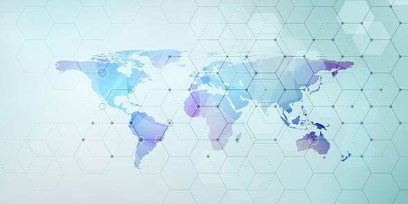 Vector hexagonal network pattern with world map