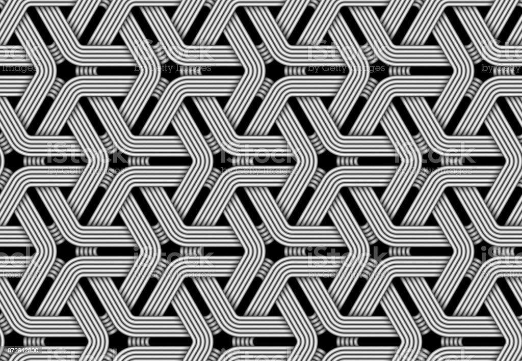 Vector hexagonal seamless pattern of weaved fiber. vector art illustration