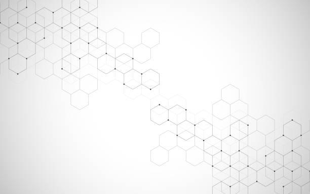 stockillustraties, clipart, cartoons en iconen met vector zeshoeken patroon. geometrisch abstracte achtergrond met eenvoudige hexagonale elementen. medische, technologie of wetenschap ontwerp. - achthoek
