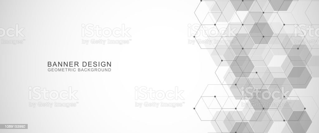 c1c8285905b9c Vector hexagons pattern. Geometric abstract background with simple hexagonal  elements. Medical, technology or