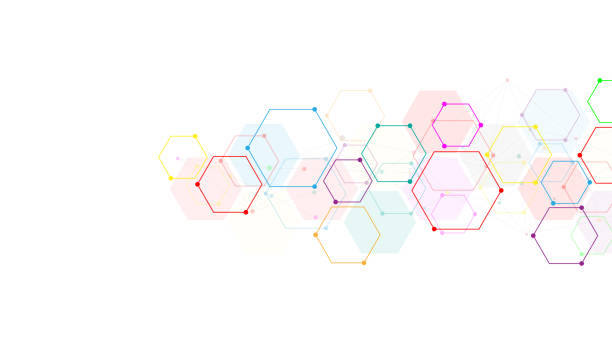 向量六邊形圖案。幾何抽象背景與簡單的六邊形元素。醫療、技術或科學設計。 - 健康科技 幅插畫檔、美工圖案、卡通及圖標