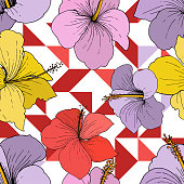 Vector Hibiscus floral tropical flowers. Wild spring leaf wildflower isolated. Engraved ink art on white background. Seamless background pattern. Fabric wallpaper print texture.